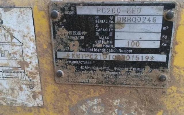 小松挖掘机PC200-8_2010年出厂12450小时